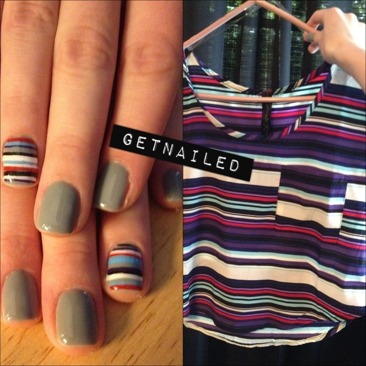 Did my nails to match this shirt I got!: Nails Whore, Accent Nails, Nails Spring, Rings Fingers, Grey Stripes, Nails Ideas, Shirts Patterns, Stripes Nails Art, Gray Nails