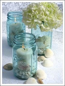 mason jar - centerpieces could use red glass beads instead of sea shells