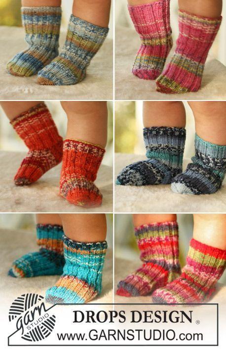 Tiny Toes / DROPS Baby 16-26 - Sockor till baby och barn stickat i DROPS Fabel.