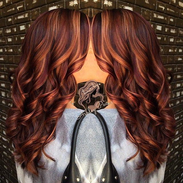 Dark Auburn Hair with Caramel Highlights