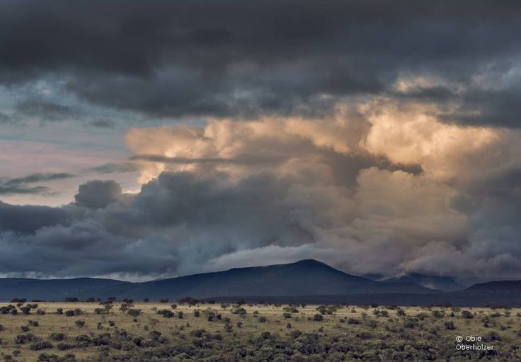 Last evening light catches storm clouds over Norwood Farm and the foothills of the Zuurberg Mountains near Adelaide in the Eastern cape Province of South Africa.