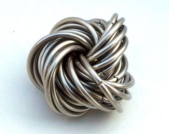 Fidget Puzzle Ring: Chainmail Office Toy, Stainless Steel Infinity Stress Toy, Mobius Trinket, Geek Toy