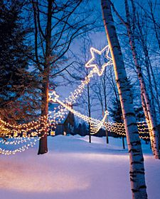 To create striking outdoor lighting this holiday season, string several of these shooting stars in your yard. We hung our comets in trees that were 10 to 12 feet apart. To determine how many feet of lights you will need, measure the distance between the trees, add 8 to 12 inches (so the tail forms a swag), and multiply this number by 8.