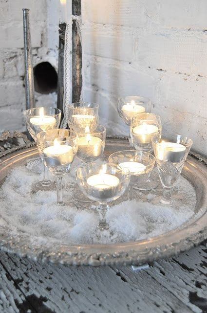 candles in wine glasses, for xmas or thanksgiving with red, orange, green, white candles