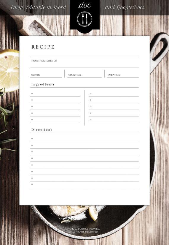 Editable Recipe Template 8 5 X 11 Word Etsy Recipe Cards Template Recipe Book Templates Recipe Template