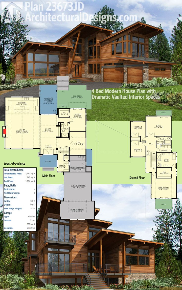 Architectural Designs 4 Bed Modern House Plan 23673jd Has Dramatic Rooflines And Amazing Vaulted Interiors