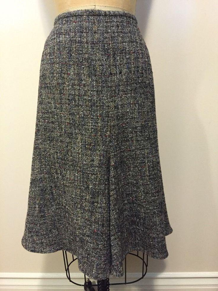 Armani Collezioni Tan Red White Black Burgundy Tweed Trumpet Skirt Sz 10 NWT #ArmaiCollezioni #Trumpet