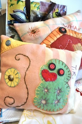 recycled blanket cushion