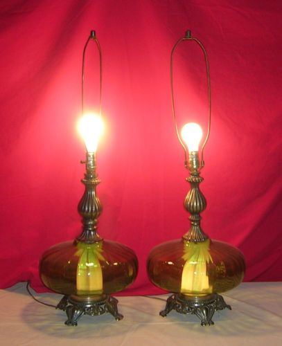 29 best lamps looking for images on pinterest pole lamps vintage pair hand blown green glass 1967 table lamps hollywood regency retro ebay mozeypictures Choice Image