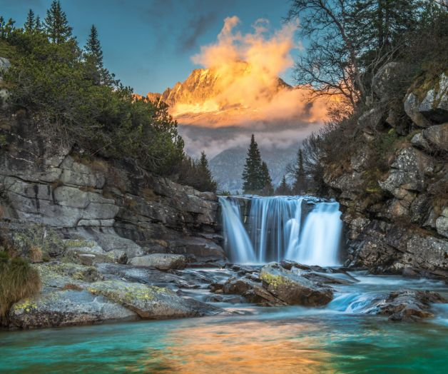 Waterfalls Mountains Scenery Crag Fog Landscapes Wallpaper Mural Landscape Wallpaper Landscape Walls Paint By Number