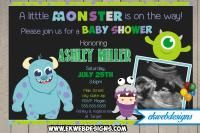 Custom Monster Inc Baby Shower Invitation - Monster University Sonogram Baby Shower Invite