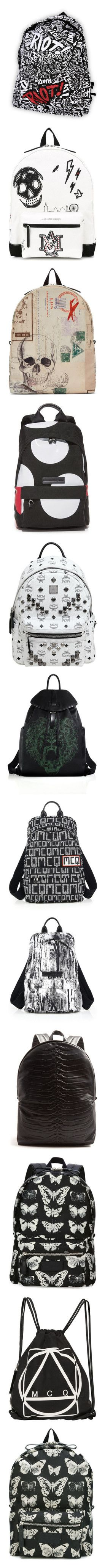 """Backpacks"" by aarabbit44 on Polyvore featuring bags, backpacks, accessories, paramore, logo bags, pattern bag, print backpacks, backpack bags, day pack backpack and men's fashion"