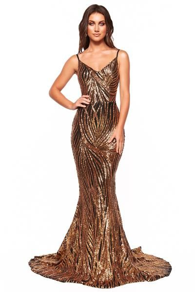 da36718b0d3 A N Luxe Jamilla - Gold   Black Patterned Sequin Gown