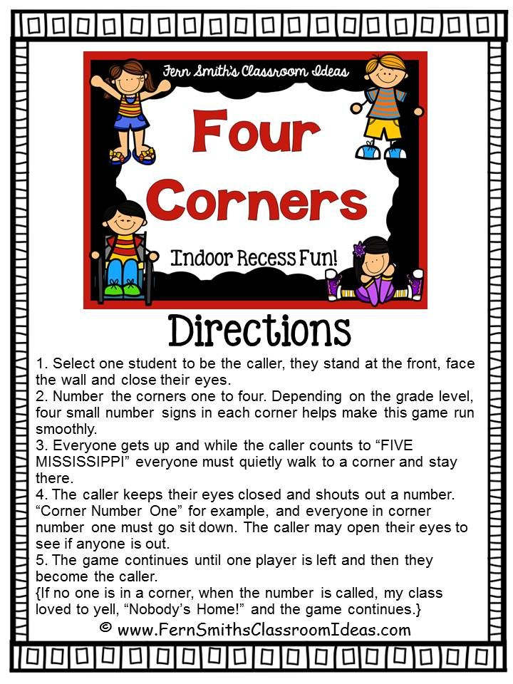 Indoor Recess ~ #FREE Four Corners Directions  Printable
