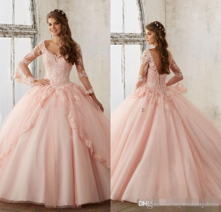 Baby Pink Blue Quinceanera Dresses 2017 Lace Long Sleeve V Neck Masquerade Ball Dresses Sweet 16 Princess Pageant Dress For Girls Cheap Inexpensive Quinceanera Dresses La Quinceanera Dresses From Myweddingdress, $162.8| Dhgate.Com