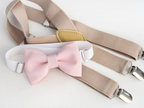 Ericka, this is for ring bearer. Light pink bow-tie & tan elastic suspender set - adjustable neck strap - blush pink bow tie and light beige suspenders set.