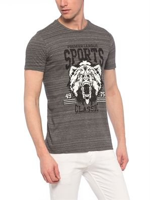 Anthracite Regular Crew Neck Printed T-Shirt, Urun kodu: 7YJ370Z8-670,Fit:Regular,Neck Type:Crew Neck,Design:Printed,Product Type:T-shirts,Main Fabric:%100 Cotton,