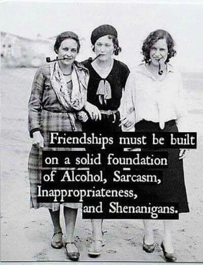 Friendships Must Be Built On A Solid Foundation Of Alcohol,  Sarcasm,  Inappropriateness,  And Shenanigans