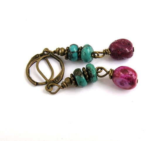 Natural turquoise and fushia nuggets antique brass lever back #earrings