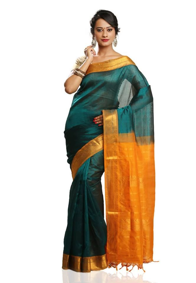 Bottle Green Colored Pure Silk Cotton Saree with Yellow Colored Pallu and Blouse Part @ Rs. 2590 http://www.shreedevitextile.com/women/sarees/cotton-sarees/shree-devi/bottle-green-colored-pure-silk-cotton-saree-15