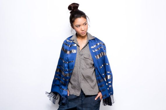 Hand printed silk scarf, Blue and Silver woman shawl with fringes finish. An original design by Dikla Levsky