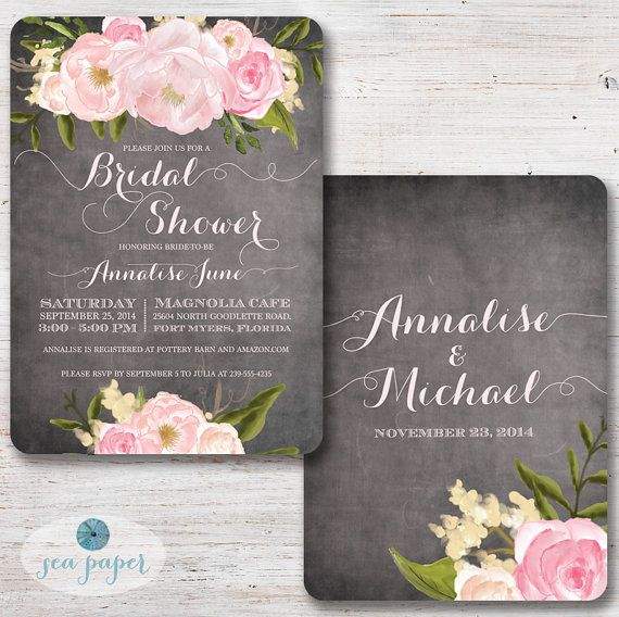 Chalkboard Floral Bridal Shower Invitation with by SeaPaperDesigns