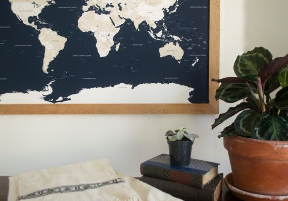 World Push Pin Travel Map in Handcrafted Wood Frame 24x36 - Anniversary Gift - Unique Gift for Him Her - Navy Blue Modern