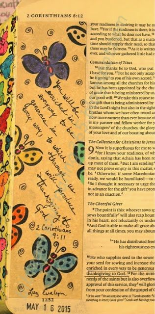 Easy Bible Art Journaling Journey: 2 Corinthians 9:11 (May 16th)