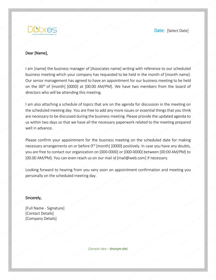 Meeting Appointment Letter Sample Letter Templates