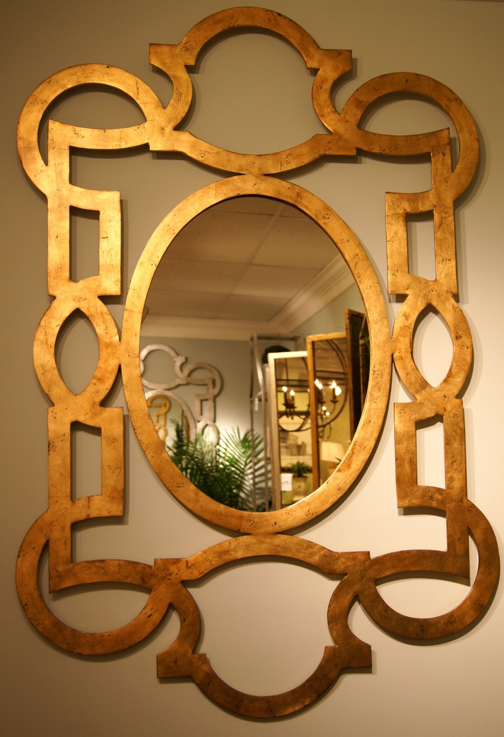 """(click to view pic larger) Chelsea House's with Lisa Kahn-Allen fab """"Tracery Mirror"""".  Inspired by an antique gold leaf mirror seen on her honeymoon in Ireland. The members were broaden and made flat for a modern adaptation. www.chelseashouse.com 200 N. Hamilton St  #hpmkt"""