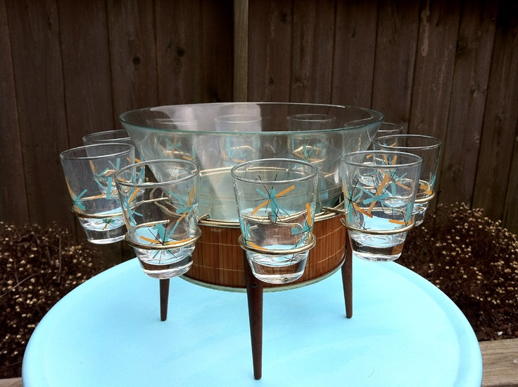 Mid-Century Punch Bowl Stand and Glasses... WOW!