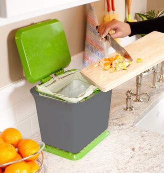 full circle fresh air green slate kitchen compost collector this red dot award winning compost bin sit on your counter top and makes kitchen composting a
