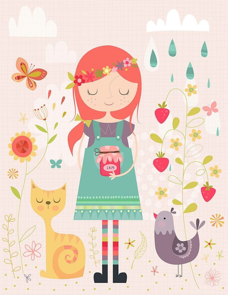 Making Jam Art Print - illustration by Lamai - $16.64 on Society6. A cute girl holding a jam jar with a beautiful floral background and a cat and rooster next to her. This would be a beautiful print for a little girls room. http://society6.com/Lamai/Making-Jam_Print#1=45