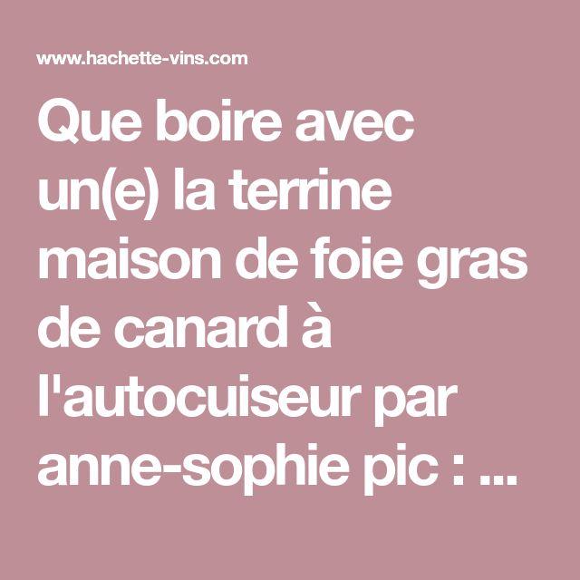 Que boire avec un(e) la terrine maison de foie gras de canard à l'autocuiseur par anne-sophie pic : accord vins - hachette-vins.com
