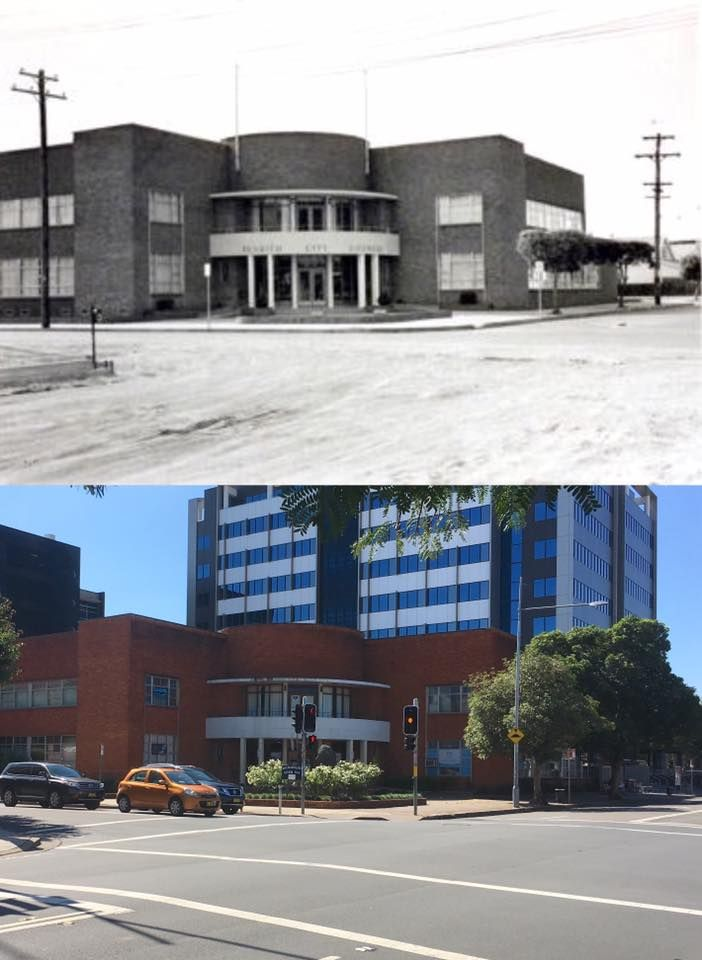 Corner of Station and Henry Streets, Penrith. Penrith City Council Chambers 1960 <<<>>> 2017 Mission Employment plus Nepean Archeology. [Penrith City Council > Phil Harvey. By Phil Harvey]