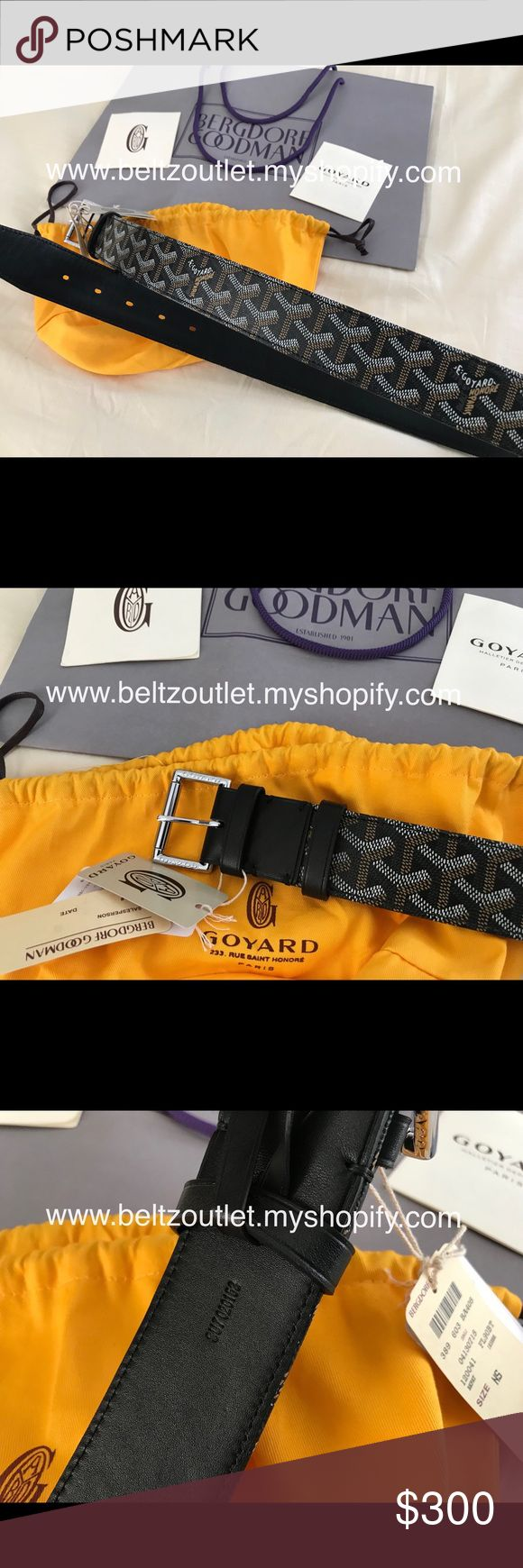 Sale $145 black monogram Goyard belt Black monogram Goyard belt. Comes with dust bag and tags. Sizes 90cm-115cm in stock. Best prices and quality guaranteed. Shop with confidence. 100% Satisfaction Guaranteed. Accessories Belts