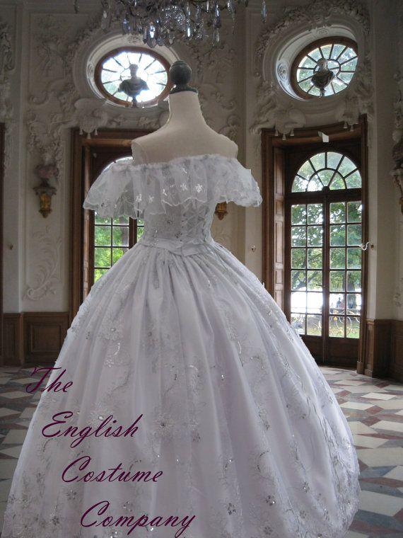 ÚLTIMO un victoriano vestido de crinolina Guerra Civil