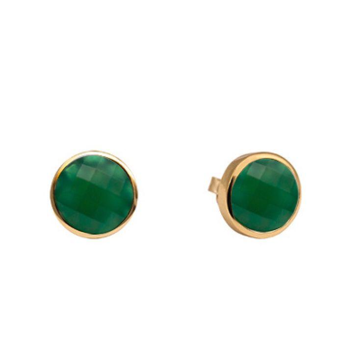 Örhängen i guld pläterat silver med grön calcedon Sten diameter ca 9mm