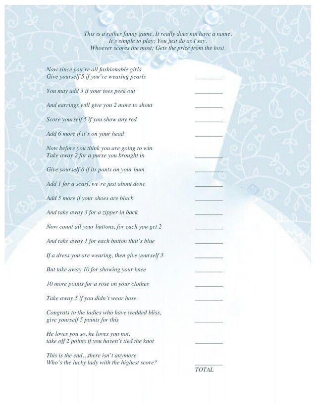 Game for the Bridal Shower   Bridal Poem Game