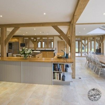 Open Plan Kitchen and Dining Room in Oak Framed New Build Farmhouse in West Sussex