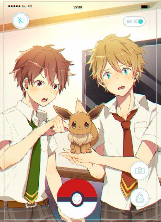 Ensembles stars x Pokemon Go Midori and chiaki and Eevee