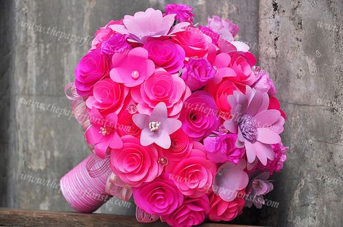 Vibrant Pink Paper Flower Bouquet- By www.thepaperflorists.com