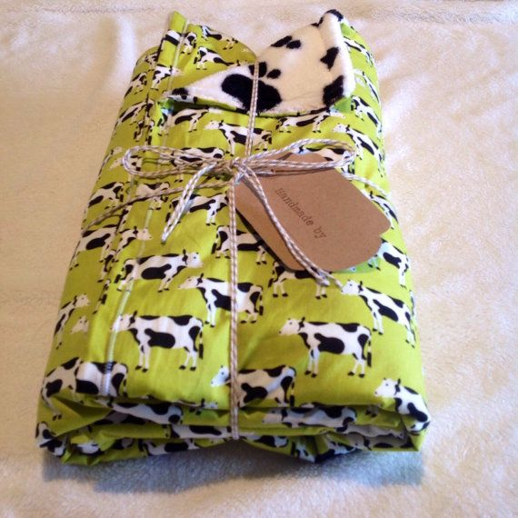Soft baby blanket, 100% cotton & fleece, warm baby blanket, baby's gift, cot blanket, infant blanket, cows, lime green, white, black by jamelhandmadegifts. Explore more products on http://jamelhandmadegifts.etsy.com