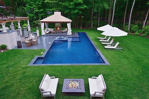 Gunite Pool And Spa Featuring A Lap Lane Swimming Pools