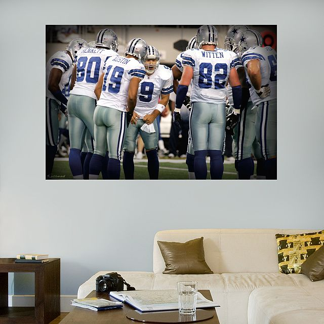 Cowboys Huddle In Your Face Mural REAL.BIG. Fathead – Peel & Stick Wall Graphic   Dallas Cowboys Wall Decal   Sports Home Décor   Football Bedroom/Man Cave/Nursery