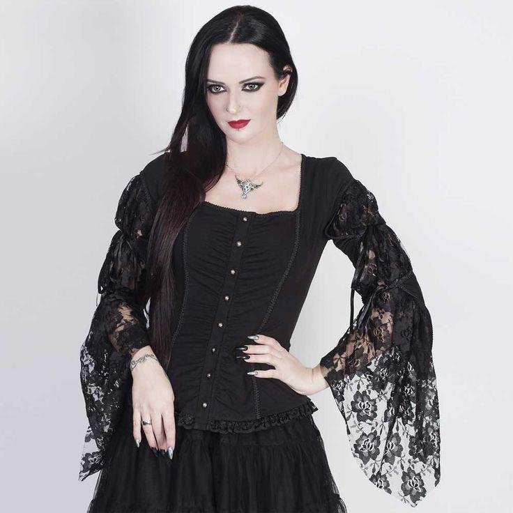 VG London Gothic top met lange mouwen en kant zwart - Gothic | Attitud