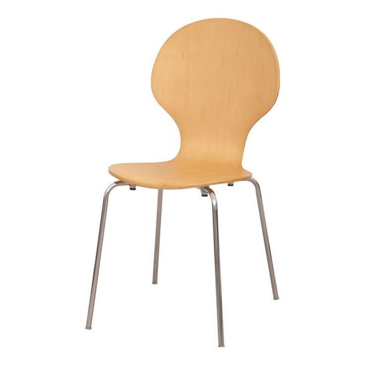 Stolička MAUI NEW, drevo prírodná/chróm