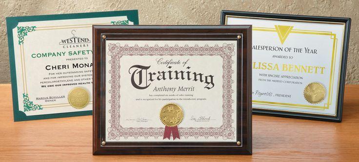 Certificate Holders for Awards