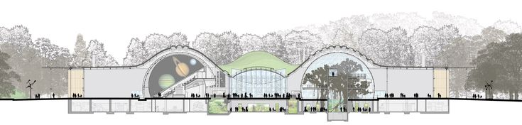 Section View drawing of California Academy of Sciences by Renzo Piano #architecture