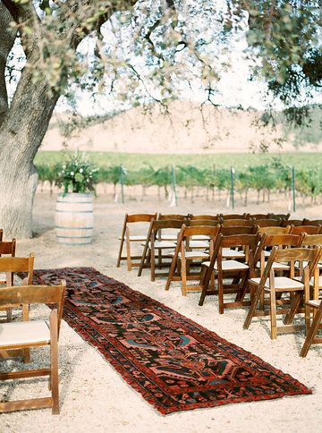 Ceremony Site With Vintage Persian Runner Aisle Runner